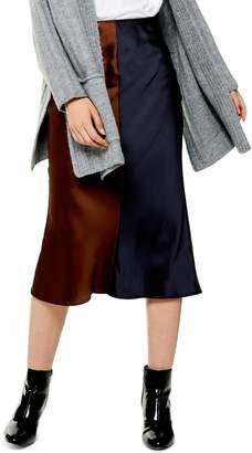 Topshop Colorblock Satin Midi Skirt