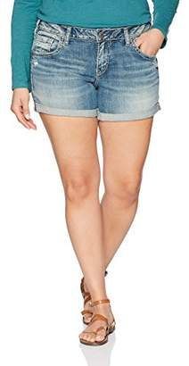 Silver Jeans Co. Women's Plus Size Sam Mid Rise Boyfriend Shorts
