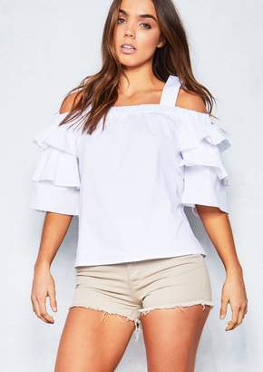 18174b66977b4c Missy Empire Anarbelle White Cold Shoulder Frill Sleeve Top