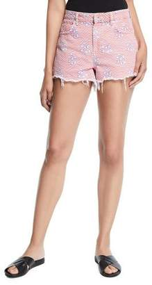Alexander Wang Bite Star-Print Cutoff Denim Shorts