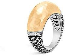 John Hardy Classic Chain Hammered 18K Gold& Silver Diamond Pave Dome Ring
