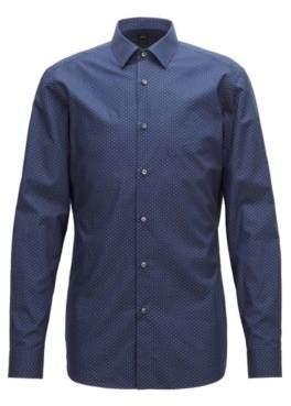 BOSS Hugo Tailored slim-fit shirt in micro-patterned Italian cotton 17.5 Dark Blue
