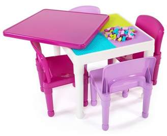 Tot Tutors 5pc Kids 2-in-1 Plastic Building Blocks Compatible Activity Square Table and Chair Set