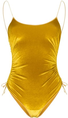 Oseree ruched velvet swimsuit
