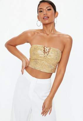 20f0cc8c4e054 Free Shipping at Missguided · Missguided Gold Bandage Lace Up Foil Print Crop  Top