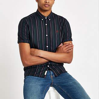 River Island Mens Green stripe button down collar shirt