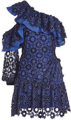 Self-Portrait Asymmetric Floral Lace Mini Dress
