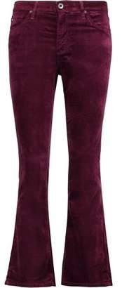 AG Jeans Cropped Velvet Mid-Rise Bootcut Pants