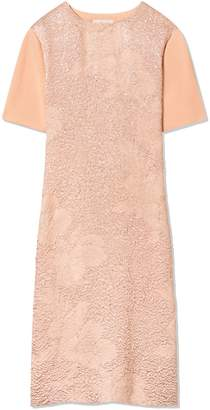 Tory Burch FLORAL CLOQUE-FRONT SWEATER DRESS