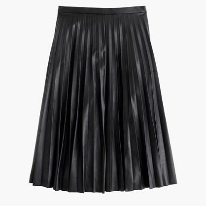 J.CrewFaux-leather pleated midi skirt