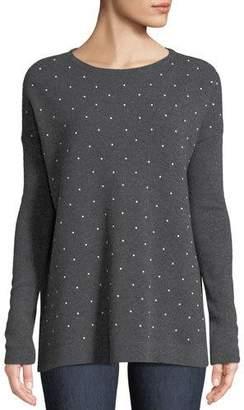 Neiman Marcus Pearl Crewneck Cashmere Sweater