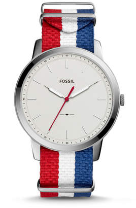 Fossil The Minimalist Three Hand Navy White And Red Polyester Watch