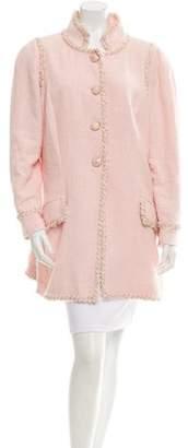 Chanel Bouclé Mesh-Trimmed Coat
