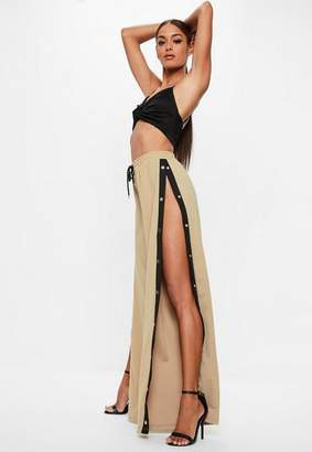 Missguided Tall Stone Popper Side Trousers, Stone