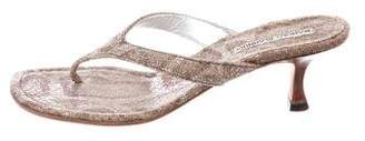 Manolo Blahnik Metallic Thong Sandals