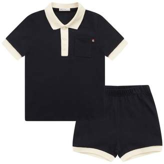 Moncler MonclerBaby Boys Navy Pique Polo Top & Shorts Set