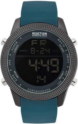 Kenneth Cole Reaction Men's Digital Dark Green Silicone Strap Watch 50mm