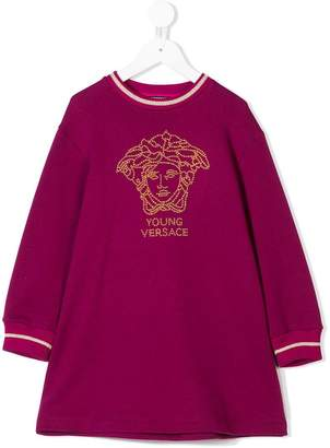 Versace beaded logo sweatshirt dress