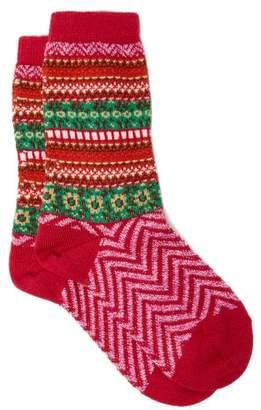 Falke Fair Isle Chevron Striped Virgin Wool Blend Socks - Womens - Pink