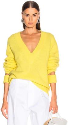 Tibi V Neck Pullover Sweater in Acid Yellow | FWRD
