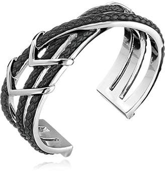Cole Haan Leather Items Black Chevron Metal and Braided Cuff Bracelet