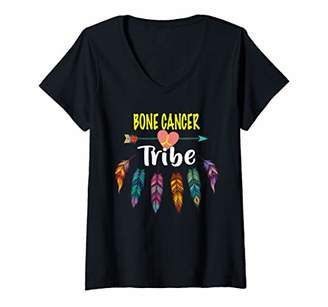 Womens bone cancer tribe awareness V-Neck T-Shirt