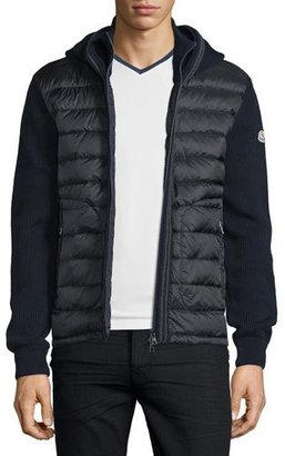 Moncler Puffer-Panel Front-Zip Sweater, Navy $780 thestylecure.com