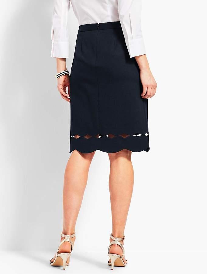 Scallop-Hem Ponte Pencil Skirt