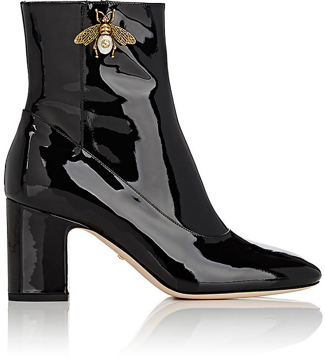 Gucci Women's Lois Patent Leather Ankle Boots