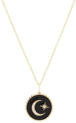 Sydney Evan Moon And Star Tableau 14kt gold necklace with diamonds