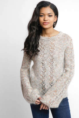 Willow & Clay Pointelle Boucle Marled Tie Back Sweater