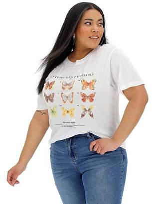 Neon Rose Butterfly Print T Shirt