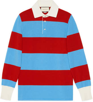 Gucci Striped polo with Thanatos embroidery
