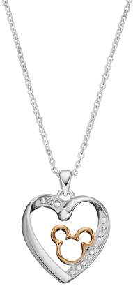 Disney Two Tone Silver Plated Crystal Mickey Mouse Heart Pendant Necklace $60 thestylecure.com