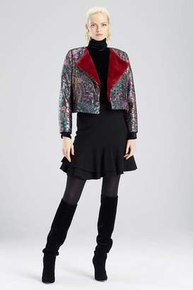 Josie Natori Bohemia Garden Jacquard Cropped Jacket
