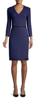 BOSS Textured Jersey V-Neck Sheath Dress