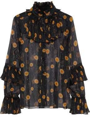 Anna Sui Ruffled Metallic Floral-Print Silk-Blend Georgette Blouse