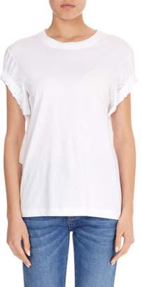 Victoria Beckham Victoria Crewneck Ruched-Tie Short-Sleeve Cotton T-Shirt
