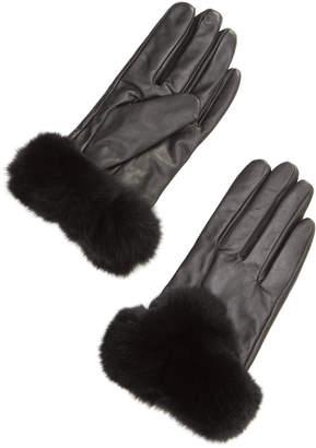 La Fiorentina シープレザーxラビットファー 手袋 ブラック