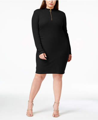 Planet Gold Trendy Plus Size Mock-Neck Dress