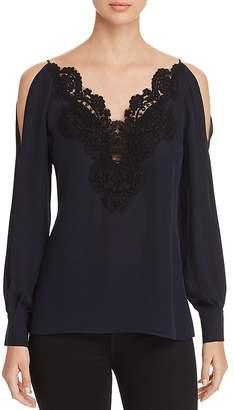 Elie Tahari Cold-Shoulder Lace-Trim Blouse - 100% Exclusive