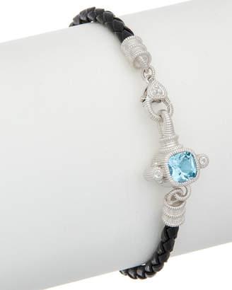 Judith Ripka Silver & Leather 2.12 Ct. Tw. Gemstone Bracelet