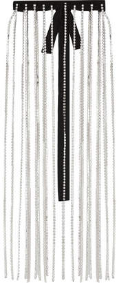Christopher Kane Crystal, Wool And Grosgrain Skirt - Silver