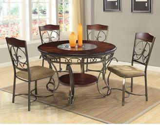 Homesource Home Source Dani Expresso 5 Piece Metal Dining Set with 1 Table and 4 Side Chairs