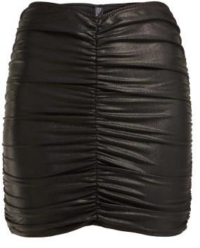 Lisa Marie Fernandez Ruched Wet Look Mini Skirt - Womens - Black