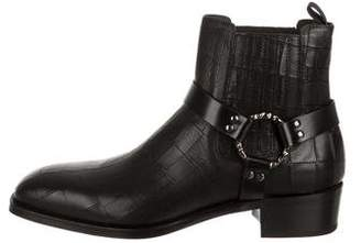 Alexander McQueen Embossed Leather Ankle Boots w/ Tags