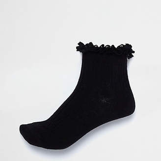 River Island Black frill cable knit socks