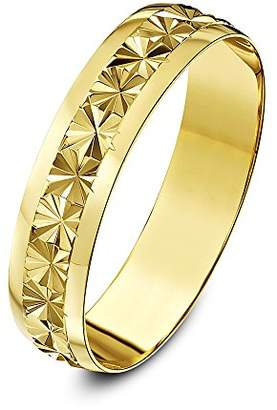 Theia 9ct Yellow Gold Heavy Weight - Star Centre Design D-Shape 5mm Wedding Ring - Size W
