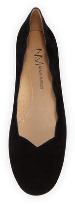 Neiman Marcus Saida Scalloped Ballet Flats, Black