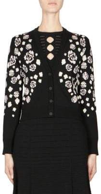Kenzo Floral-Print Cropped Cardigan